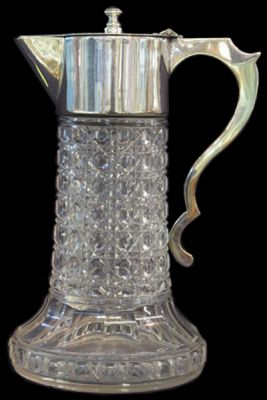Edwardian Cut Crystal Claret Jug with Silver Plated Mounts