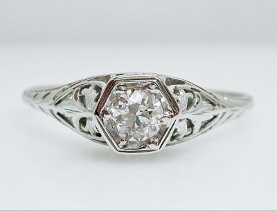 Edwardian Diamond Solitaire Engagement Ring AGL55425 79665