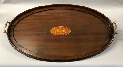 Edwardian Era Oval Mahogany Tray with Satinwood Inlay and Brass Handles