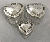 Edwardian Era Sterling Silver & Crystal Heart Shape Vanity Jars