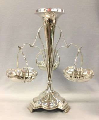 Edwardian Silver Plate Epergne with Three Hanging Baskets