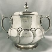 Edwardian Sterling Silver Covered Trophy / Biscuit Barrel