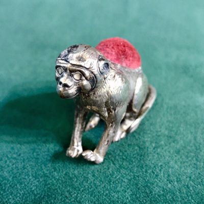 Edwardian Sterling Silver Monkey Pin Cushion 3