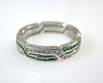 Emerald and Diamond Eternity Band CFA1404368