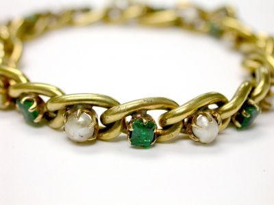 Vintage Emerald and Pearl Bracelet