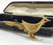 English 9kt Gold Pheasant Brooch