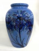 English Art Deco Cornflower Blue Moorcroft Vase
