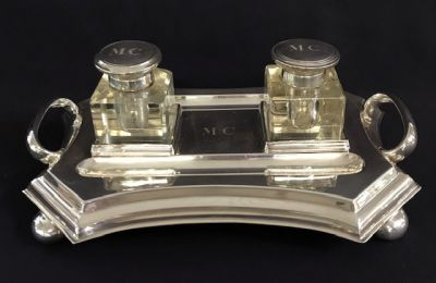 English Art Deco Silver Plate Double Inkwell   Stand 3