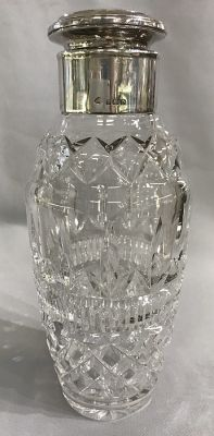 English Art Deco Sterling Silver   Cut Crystal Cocktail Shaker 2