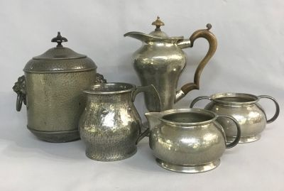 English Arts & Crafts Hammered Pewter