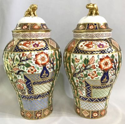 English Imari Bone China Covered Mantle Urns 2