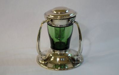 English Silver Inkwell with Original Green Glass Insert  Sheffield  Maker Richard Martin and Ebenezer Hall  C