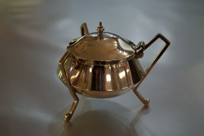 English Silver Mustard Pot  Mappin and Webb  London  1905