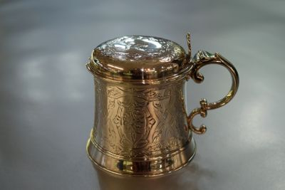 English Silver Mustard Pot with Blue Glass Liner  London  1851