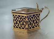 English Silver Mustard Pot with Blue Glass Liner