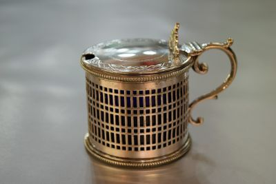 English Silver Plate Mustard Pot with Blue Glass Liner  C
