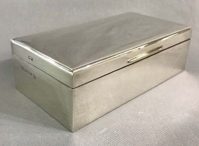 English Sterling Silver Cigarette Box With Cedar Lining c