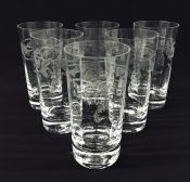 Etched Crystal Highball Glasses, Thistle By Bohemia Crystal