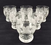Etched Crystal Whiskey Glasses, English, Early 20th Century