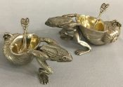 Figural Silver Plate Salt Cellars With Gilded Lining & Spoons