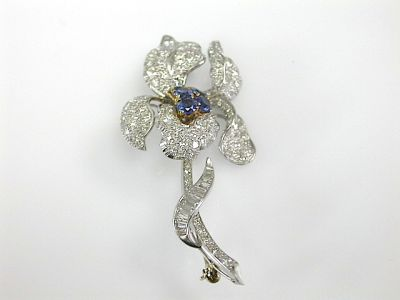 Diamond Floral Brooch
