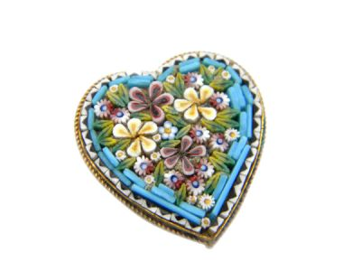 Micro Mosaic Brooch or Pin Floral Heart