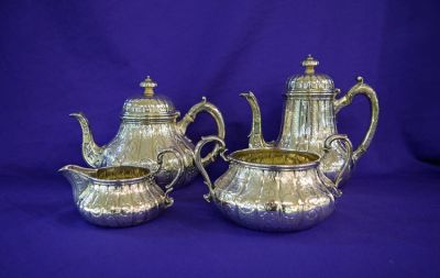 English Silver Tea and Coffee Set, London, 1860.