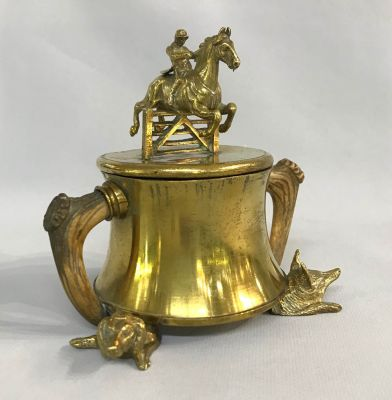 Fox Hunt Motif Brass Inkwell With Stag Horn Handles
