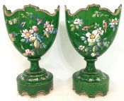 French 19th Century Enamelled Glass Mantle Vases