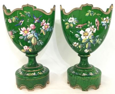 French 19th Century Enamelled Glass Mantle Vases 4