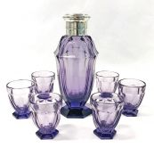 French Art Deco Amethyst Coloured Cut Glass Cocktail Shaker And Glasses