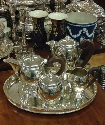 French Art Deco Silver Plated Four Piece Tea Set  has matching tray  shown with Silver Plated Gallery Tray