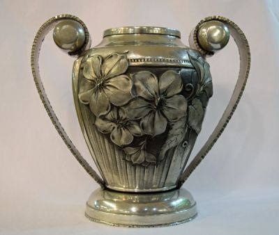 French Art Nouveau Pewter Vase  Etain D   Art Repousse R