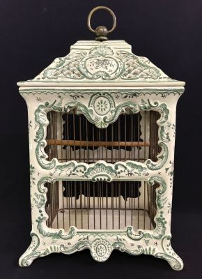 French Faience Pottery Birdcage e