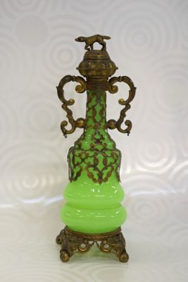 French Green Opaline Scent Bottle  C