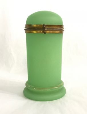 French Jade Green Opaline Glass Box zy