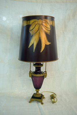 French Moser Amethyst Glass Lamp  1