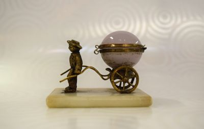 French Opaline Man and Cart Scent Bottle