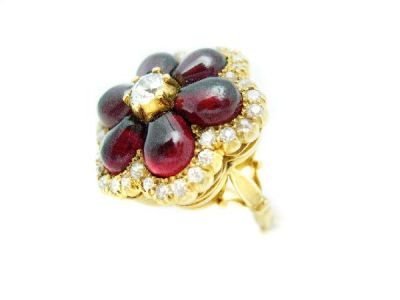 Garnet Diamond Flower Ring  GR001