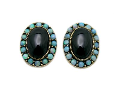 Vintage Style Garnet and Opal Earrings