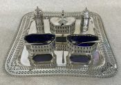 George III Style Silver Plate & Cobalt Glass 5 Piece Condiment Set, Salver Sold Separately