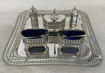 George III Style Silver Plate   Cobalt Glass 5 Piece Condiment Set  Salver Sold Separately