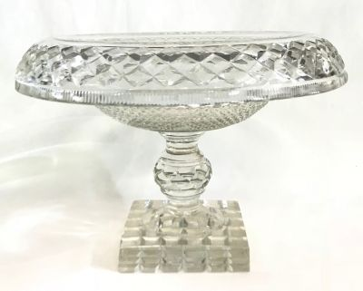 Georgian Anglo-Irish Cut Glass Footed Compote  Early 19th Century 8