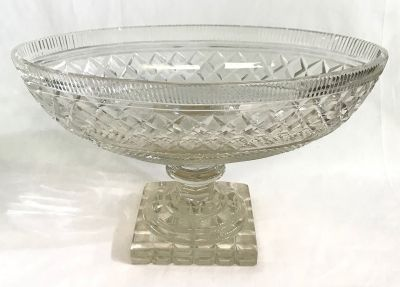 Georgian Anglo-Irish Cut Glass Footed Oval Compote  Early 19th Century