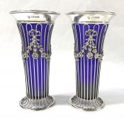 Georgian Influenced Sterling Silver And Cobalt Blue Glass Bud Vases