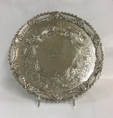 Georgian Sterling Silver Salver  London  1777  Robert James   John Schofield - 1