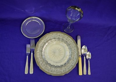 German Porcelain Platinum on Ivory Service Plates     Cross and Olive    Salad Plates  Sterling Silver Bread and Butter Plates  French Deco Silver Plate Flatware  Boulanger together with French Ivory Handled Knives