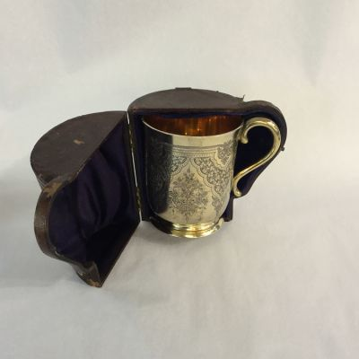 Gold Gilt on Sterling Silver Engraved Cup with Handle  London  William Evans  C
