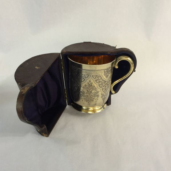 Sterling Silver Engraved Cup With Handle