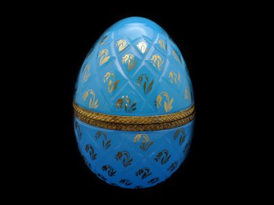 French Opaline Glass Egg Vanity Jar